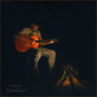 'Firelight Jam'  oil painting 3 in by 3 in