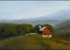 'Evening in the Smokies'  oil painting 3.5 in by 2.5 in